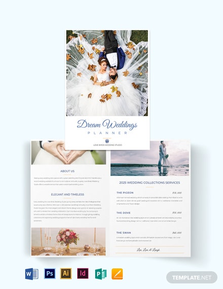 Fall Wedding Planner Bi-Fold Half Fold Brochure Template