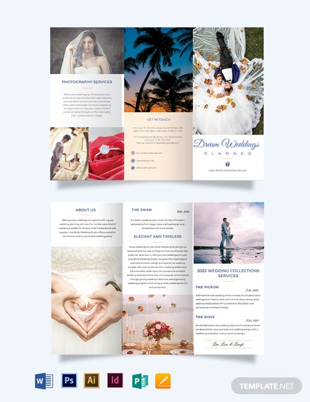 fall wedding planner tri fold half fold brochure template