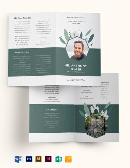 Father/ Dad Funeral Obituary Bi-Fold Brochure Template