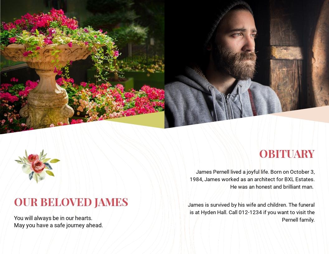 Floral Funeral Obituary Bi Fold Brochure Template 1.jpe