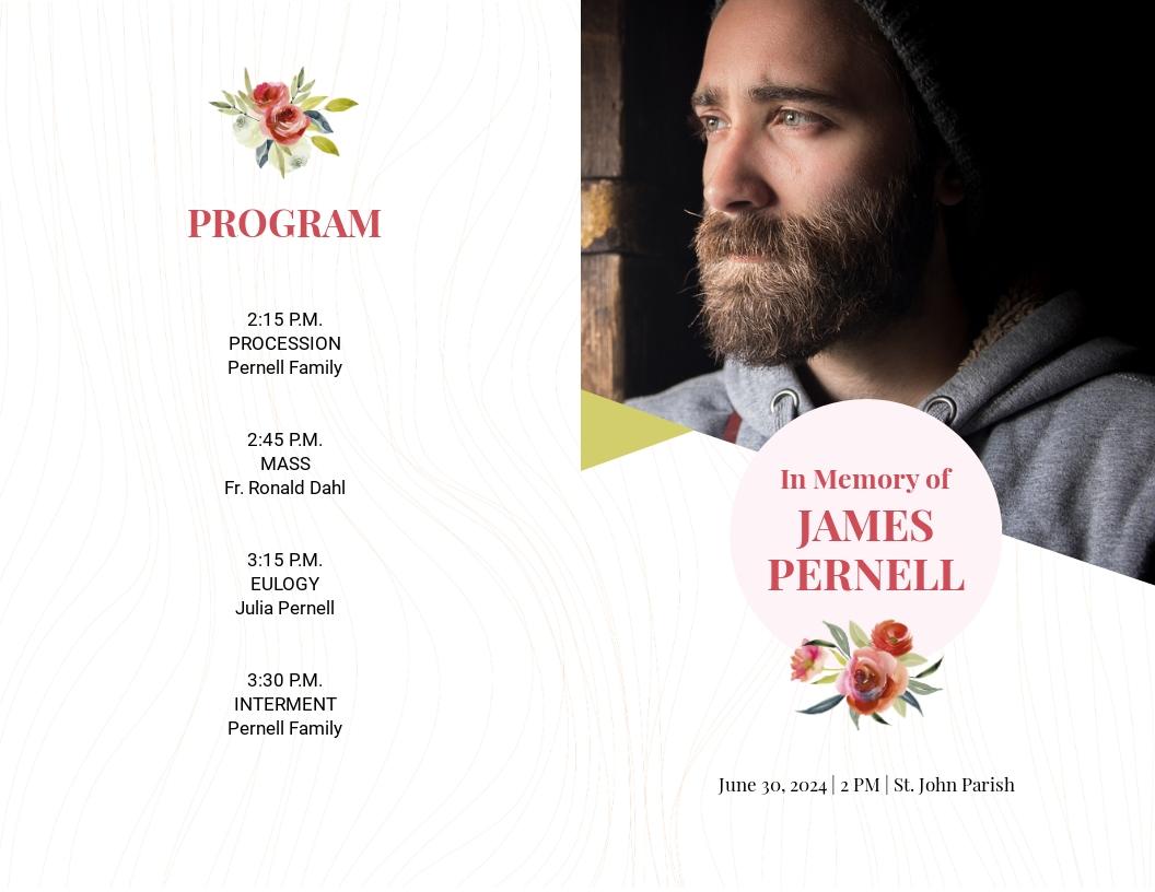 Floral Funeral Obituary Bi Fold Brochure Template.jpe