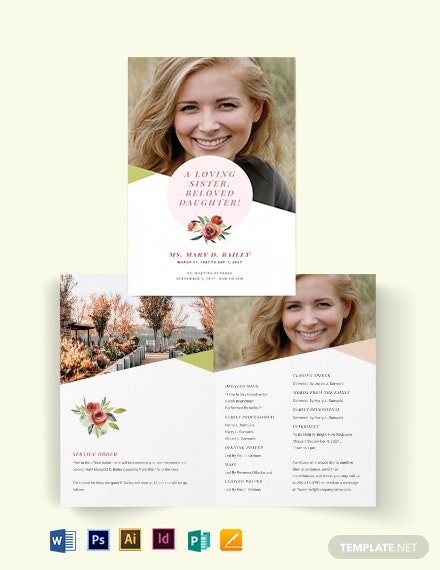 Floral Funeral Obituary BiFold Brochure Template