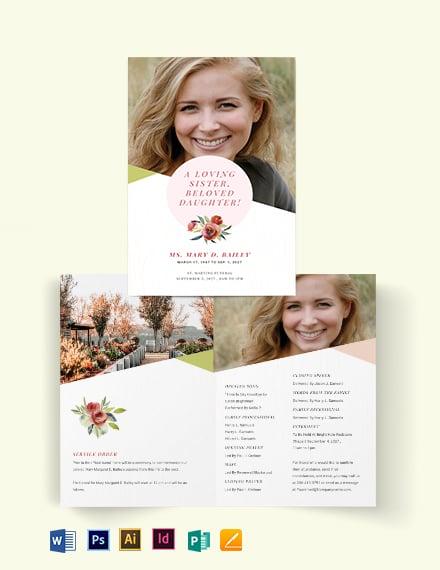 Floral Funeral Obituary Bi-Fold Brochure Template