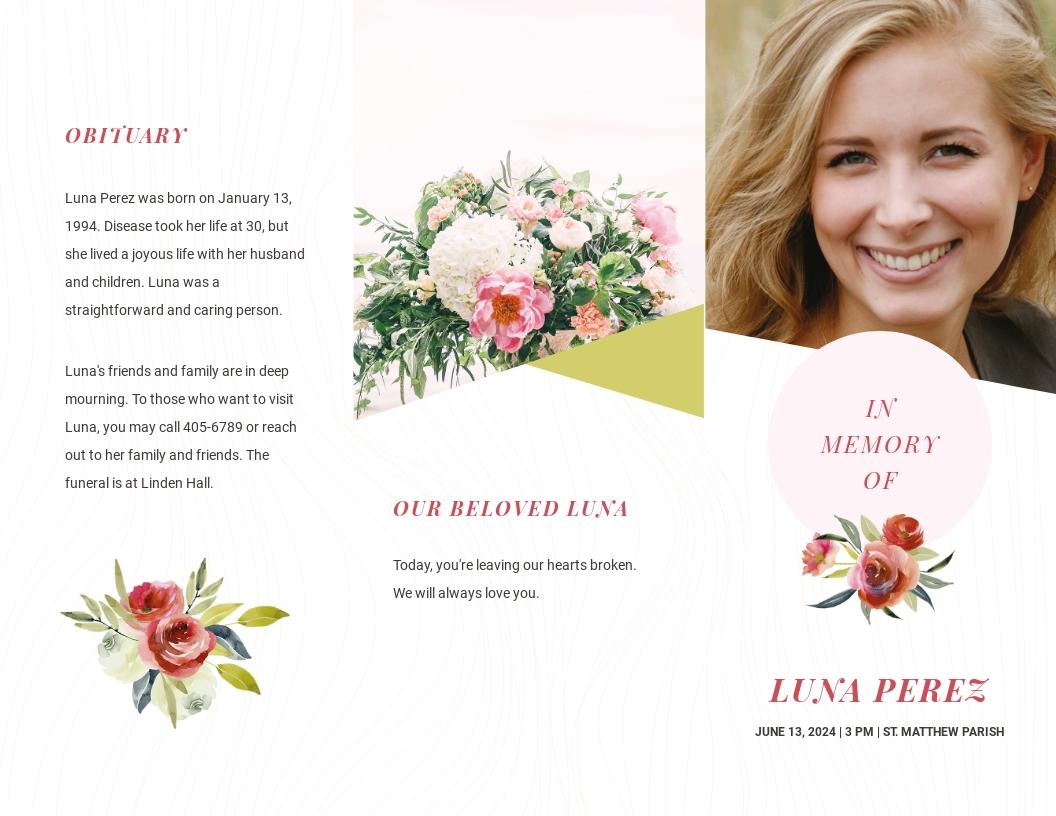 Floral Funeral Obituary Tri Fold Brochure Template.jpe