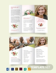 Floral Funeral Obituary Tri-Fold Brochure Template