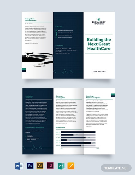 Health And Safety Annual Report Tri-Fold Brochure Template