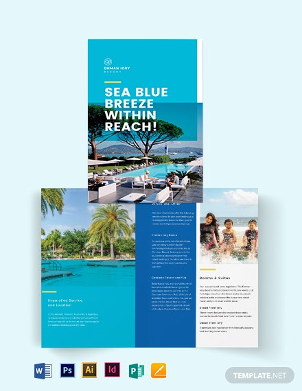 holiday resort bi fold brochure template