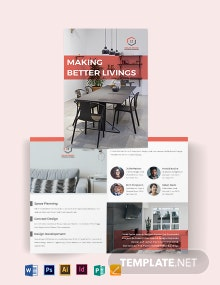 Home Interior Bi-Fold Brochure Template