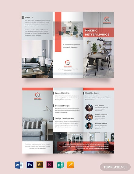 Home Interior Tri-Fold Brochure Template