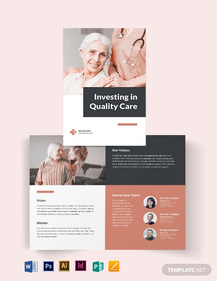 hospice care bi fold brochure template