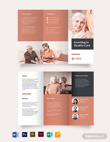 hospice care tri fold brochure template