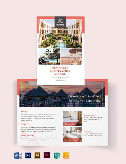 Hotel Advertising Bi-Fold Brochure Template