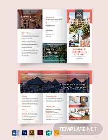 Hotel Advertising Tri-Fold Brochure Template