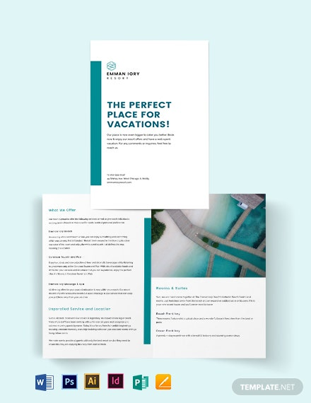 hotel resort bi fold brochure template