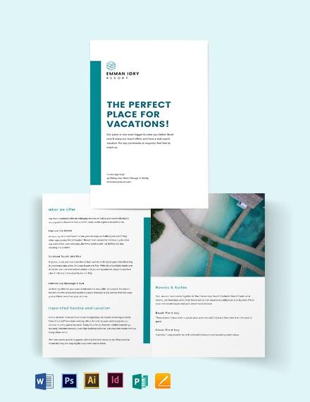 Hotel Resort Bi-Fold Brochure Template
