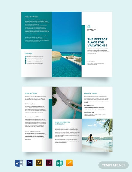 Hotel Resort Tri-Fold Brochure Template