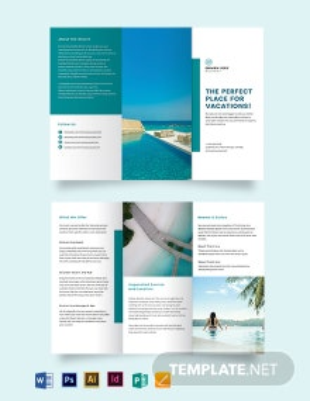 Hotel Resort Tri-Fold Brochure Template
