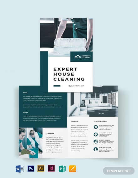 house cleaning bi fold brochure template