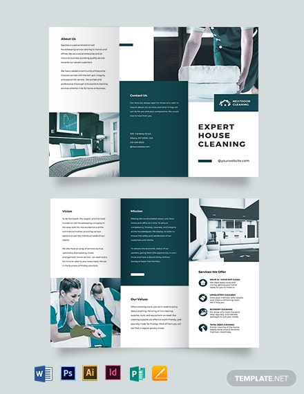House Cleaning Tri-Fold Brochure Template