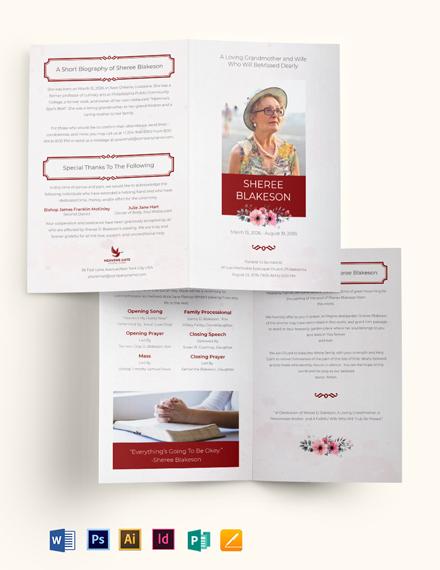 In Loving Memory Funeral Bi-Fold Brochure Template