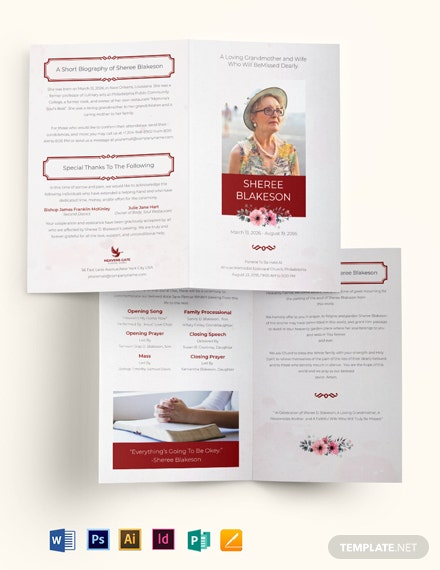 In Loving Memory Funeral Program Bi-Fold Brochure Template