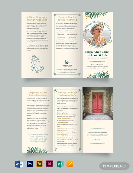 In Loving Memory Funeral Program Tri-Fold Brochure Template