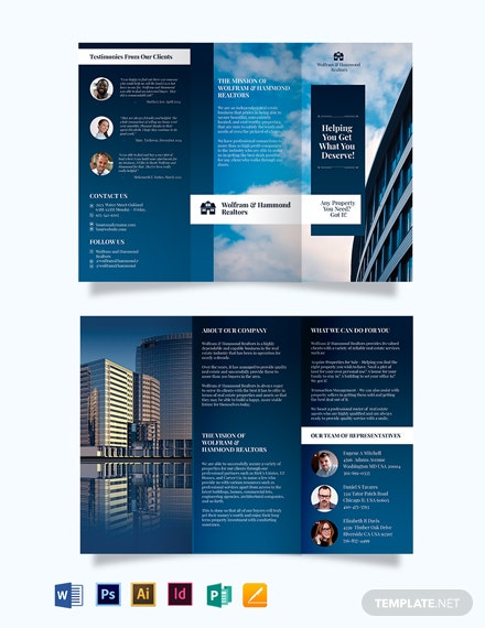 independent realestate agent agency tri fold brochure template