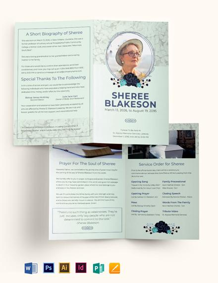 Loving Memory Day Funeral Bi-Fold Brochure Template