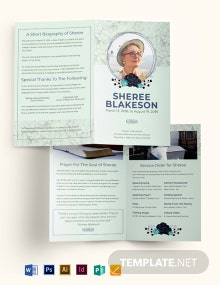Loving Memory Day Funeral Bi-Fold Brochure Template