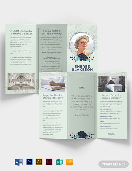 Loving Memory Day Funeral Tri-Fold Brochure Template