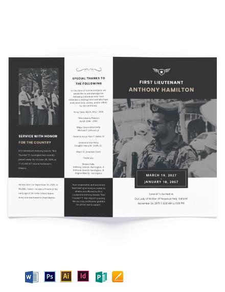 Military Funeral Memorial Bi-Fold Brochure Template