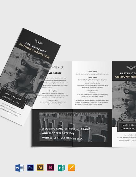 Military Funeral Memorial Tri-Fold Brochure Template