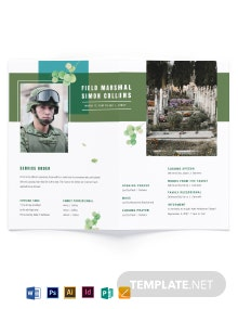 Military Funeral Obituary Bi-Fold Brochure Template
