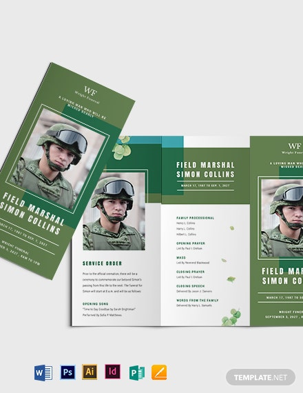 Military Funeral Obituary Tri-Fold Brochure Template