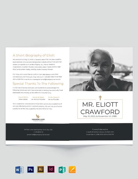 Minimalistic Funeral Program Bi-Fold Brochure Template
