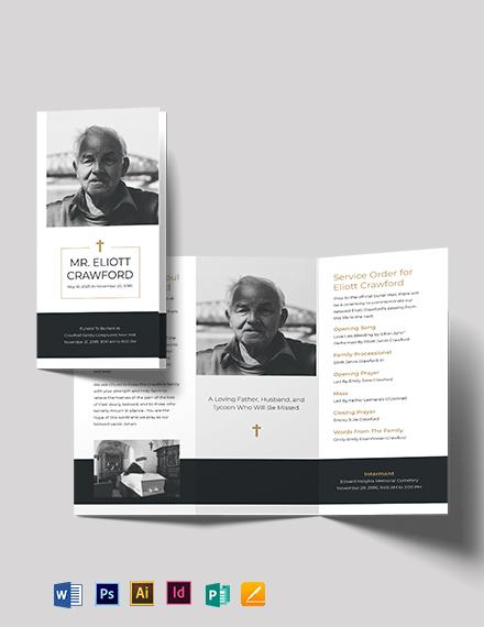 Minimalistic Funeral Program Tri-Fold Brochure Template