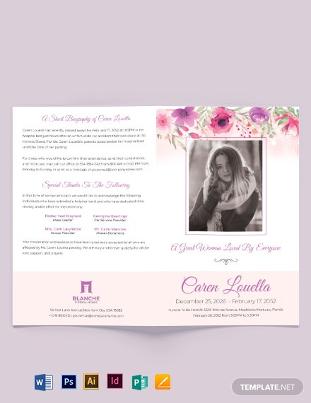 Mortuary Funeral Home Bi-Fold Brochure Template