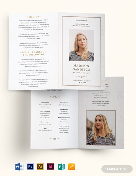 Order Of Service Funeral Obituary Bi-Fold Brochure Template