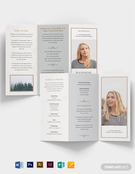 Order Of Service Funeral Obituary Tri-Fold Brochure Template