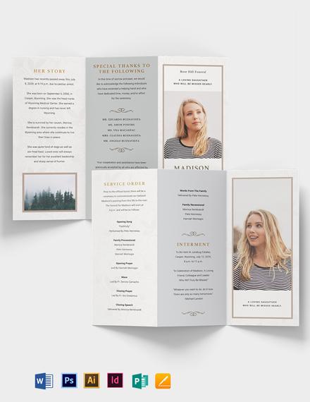 Order Of Service Funeral Obituary Tri-Fold Brochure Template