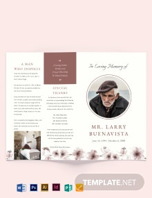 Printable Life Celebration Funeral Bi-Fold Brochure Template