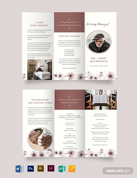 Printable Life Celebration Funeral Tri-Fold Brochure Template