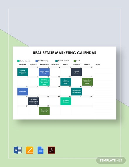 Real Estate Marketing Calendar Template [Free PDF] - Google Docs, Word, Apple Pages