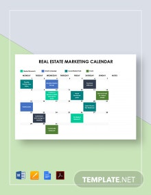 Real Estate Marketing Calendar Template