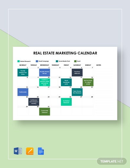 real estate marketing calendar