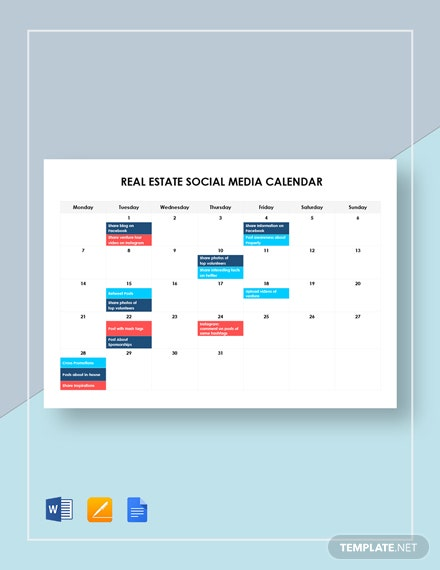real estate social media calendar
