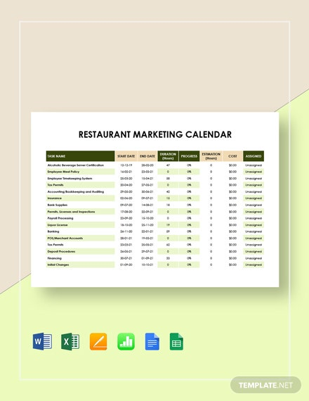 Restaurant Marketing Calendar Template