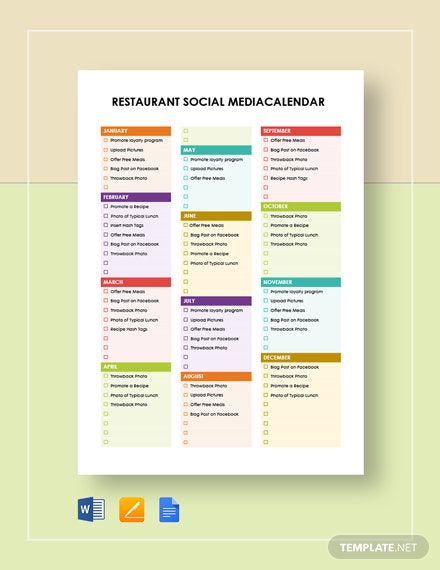 restaurant marketing calendar