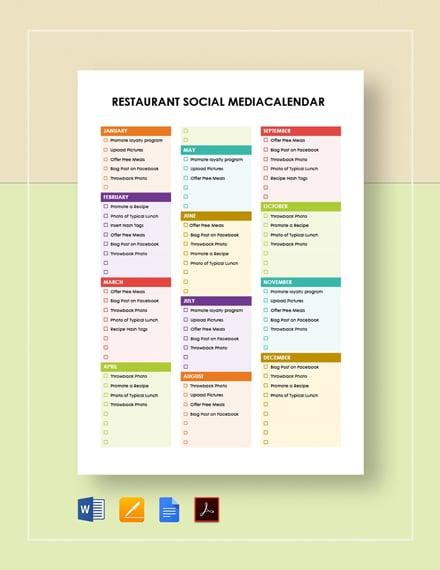 Restaurant Social Media Calendar Template