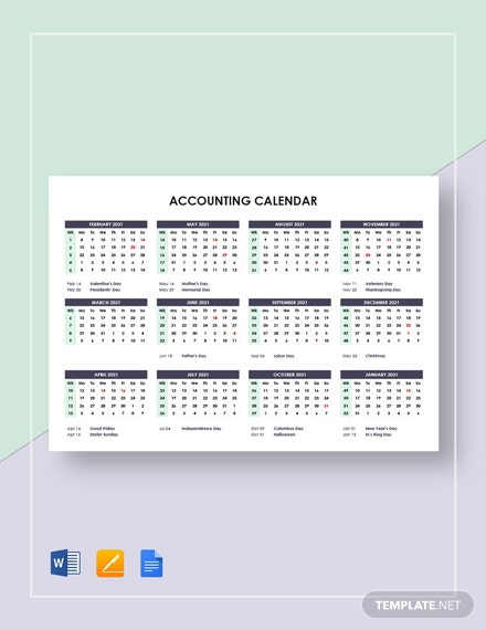 Sample Accounting Calendar Template
